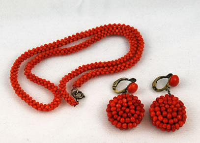 Victorian Woven Coral Necklace and Earrings