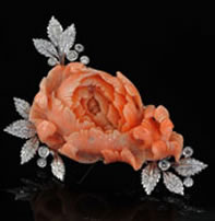 Vintage carved coral floral and diamond brooch