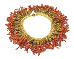 Haskell Coral Bib Necklace
