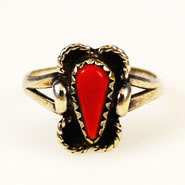 Native American red coral ring