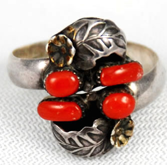 vintage native american red coral ring